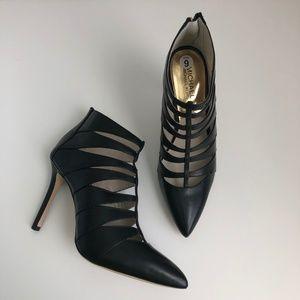 NEW Michael Kors Black Leather Cage Heel Booties
